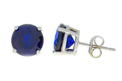 4 Ct Blue Sapphire 8mm Round Stud Earrings .925 Sterling Silver