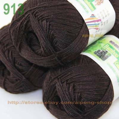 LOT SALE 3 Skeins Soft Natural Smooth Bamboo Cotton yarn knitting Brown 913