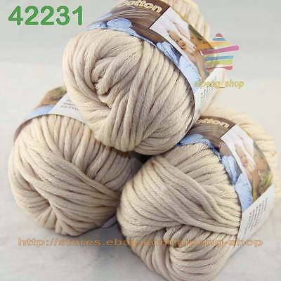 3 Balls X50gr Special Thick Hand-woven Coarse Knitting Yarn Beige 2231