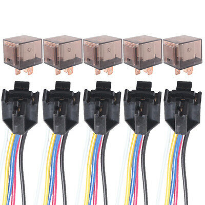 5 X Car Truck Auto 12V 80A 80 AMP SPDT Relay Relays 5 Pin 5P & Socket 5 Wire