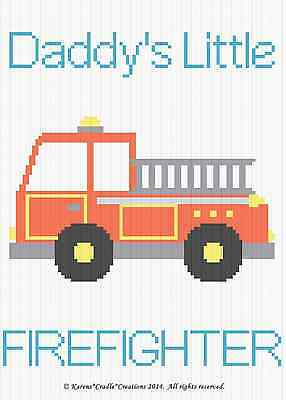 Crochet Patterns - DADDY'S LITTLE FIREFIGHTER Baby Graph/Chart Afghan Pattern