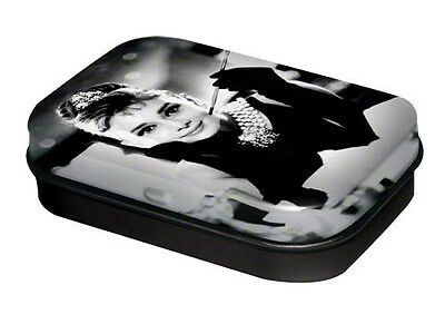 Retro Tin Metal Pill Box AUDREY HEPBURN' filled with Mints - Classic B/W Image