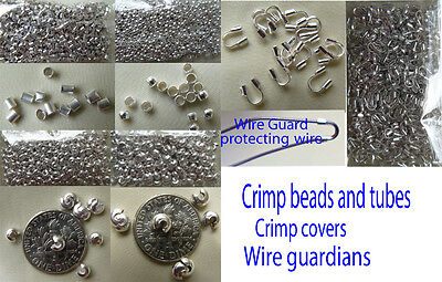 Silver crimp beads, Covers and Wire guardians 999  Hypo-allergenic Silver finish