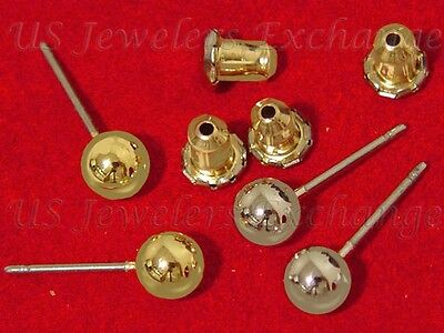 2 PAIRS NEW CLASSIC 14K YELLOW & WHITE GOLD GP 5mm BALLS STUD POST EARRINGS #301