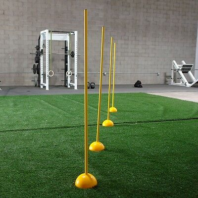 Workoutz Detachable Agility Poles With Bases (Set Of 6) Speed Soccer Slalom