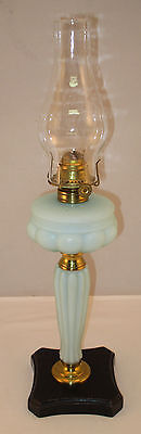 Blue Satin Glass Junior Banquet Oil Lamp w/ Burner & Chimney