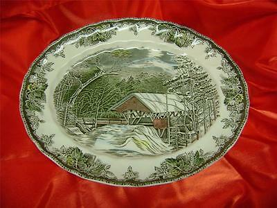 New MADE in ENGLAND Johnson Bros Friendly Village Covered Bridge Platter 12.5x15