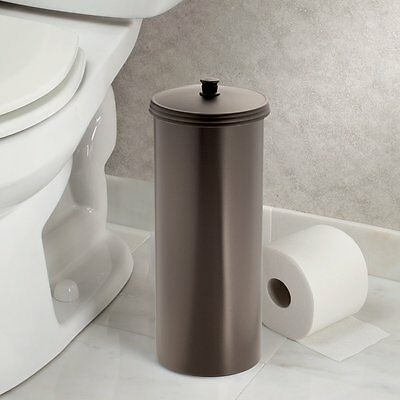 Toilet paper tissue reserve canister bronze bathroom storage plastic extra roll - Toilet roll canister ...