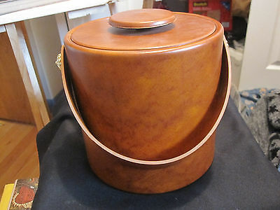 Vintage Kraftware Ice Bucket Faux Leather - Beautiful