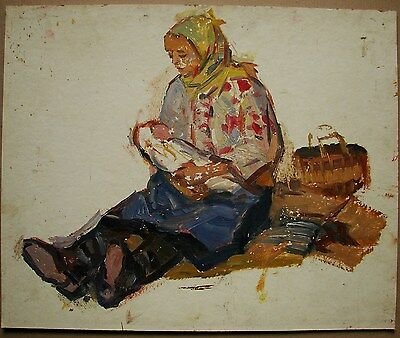 Russian Ukrainian Soviet Oil Painting mother and child realism figure sketch