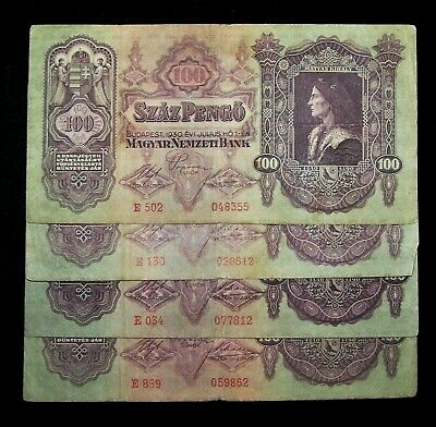 5 x Hungary 100 Pengo Banknotes-1930s  series-paper money currency