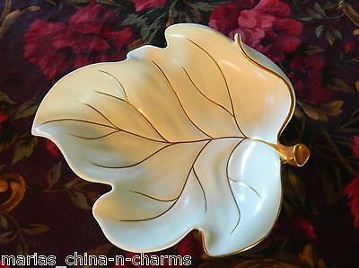 Beautiful Carlton Ware Leaf Console Serving Bowl Dish Gold Trim ENGLAND