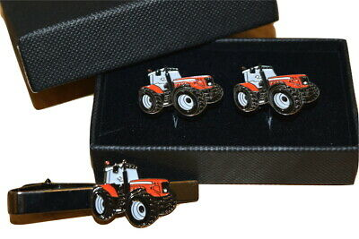 Massey Ferguson Red Tractor Cufflinks & Tie Clip Set GIFT Boxed Enamel Farming