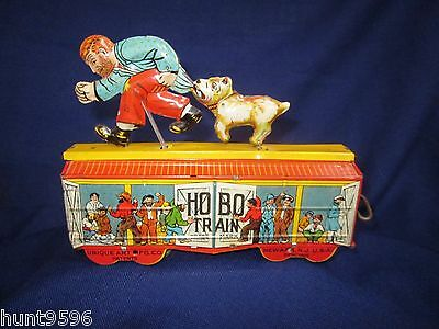 Antique Tin Litho Wind Up Toy UNIQUE ART Co   HOBO TRAIN   MINTY  Very Rare
