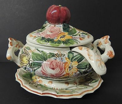 Vintage Italy Hand-Painted Tureen Apple Finial Underplate Ladle Small