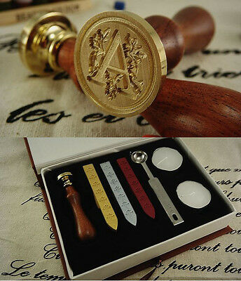 Classic letter A-Z Alphabet Initial Letter Badge Wax Seal Stamp w/Wax Set New
