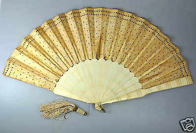 Antique China Chinese Silk Handfan Brise Fan Engraved Qing1900