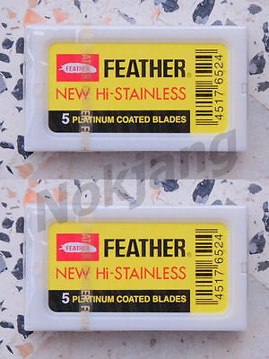 10 Blades Razor Blade Vintage Shaving Safety  Double Edge New Coated - Feather