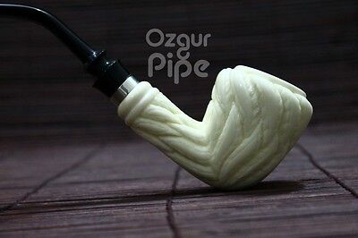 LEAF EMBOSSED STRAWBERRY 925 SILVER RING MEERSCHAUM SMOKING PIPE BY M. CINAR