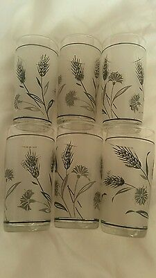 6 mid-century retro Libbey frosted juice glasses,silver & black floral & wheat