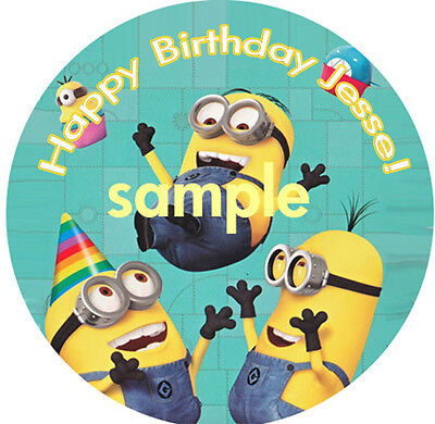MINIONS Round Edible ICING Image Birthday CAKE Topper Decoration Despicable Me
