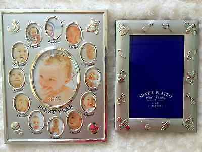baby my first year photo frame combo silver for boys and girls
