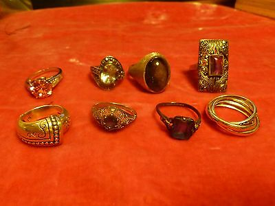 7 Vintage Sterling Silver And Semi Precious Stone Rings Varying Sizes