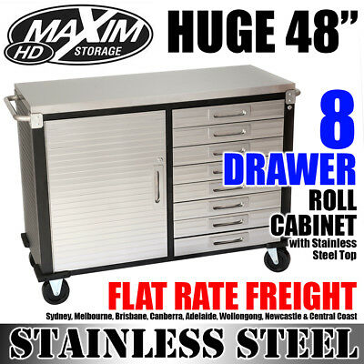 """MAXIM 48"""" Stainless Steel 8 Drawer Tool Cabinet Toolbox Chest Workbench Storage"""
