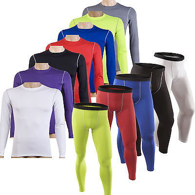 Men Sports Gym Compression Base Layers Long Sleeve T-Shirts Tight Leggings Pants