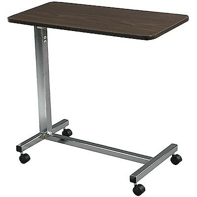 Overbed Table Food Tray Non-Tilt Top Bed Hospital Adjustable Rolling Laptop Desk