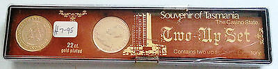 1960's 1970's TWO-UP SET Souvenir of Tasmania Casino State 22ct Gold Plate Penny