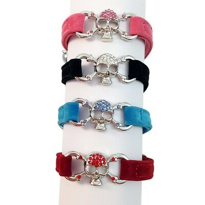 Suede Collar Cat Kitten Dog Puppy Pet Pets safety release adjustable Skull Bling