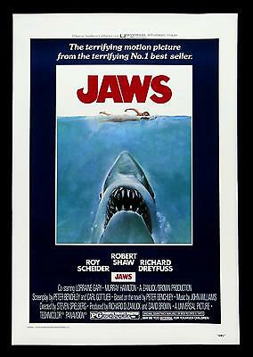 Jaws Movie Poster 1975 Stretched Art Canvas Print Icon Action Horror Film Shark