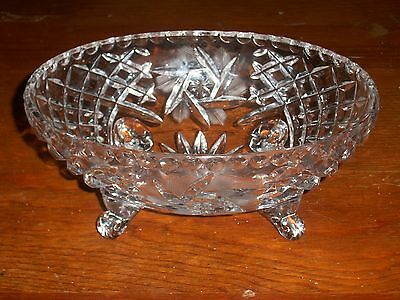 FOSTORIA AMERICAN GLASS FOOTED BOWL ETCHED MINT MINT