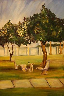 Best Christmas gift Oil Painting scenery on canvas handmade chairs in lawn