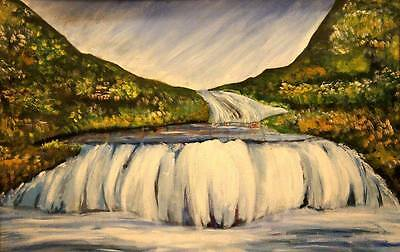 Best Christmas gift Oil Painting water fall handmade scenery on canvas by artist