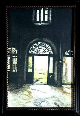 Old fashioned open doors real handmade oil painting best home decor by artist