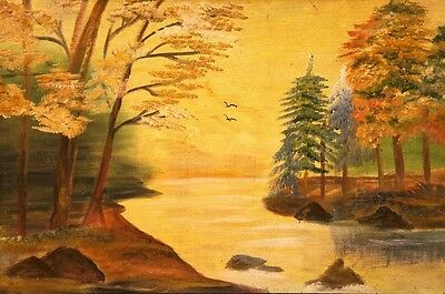River view real handmade painting best home decor by artist best Christmas gift