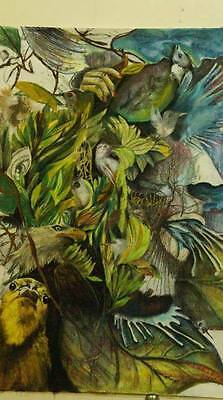 Real handmade animals and human painting with collage best home decor by artist