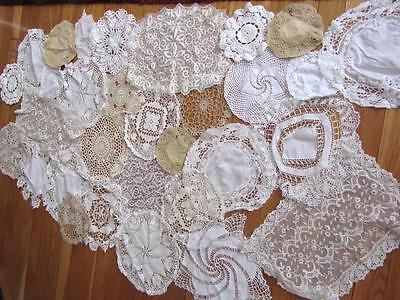 HUGE LOT VINTAGE DOILIES OVER 30 DOILY lace crochet hand sewn made WEDDING