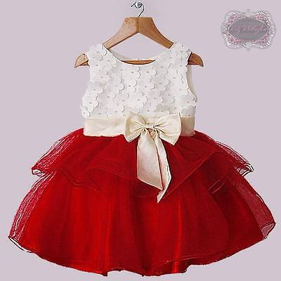 39f1fea9e70be Baby Girls Red Tulle Flowers With Pearls Christmas Dress Holiday Dress Size  18M