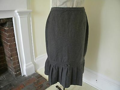 40s Gray Wool Skirt Pencil pleated fluted mermaid 1940s women's vintage Large