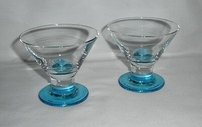 Vintage Libbey Footed Cosmo/Whiskey/Lowball Glasses – Set of 2 – Blue Foot