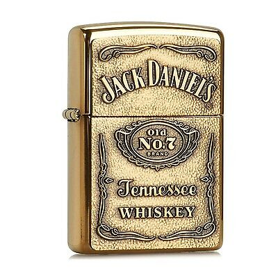 Zippo Jack Daniel's High Polish Brass Emblem Lighter #254BJD428 --- Free Ship