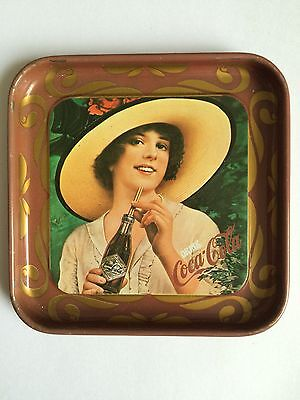 COCA-COLA DRINK ADVERTISING OLD GLASS COASTER TIN PLATE TRAY PAD RETRO GIRLS F