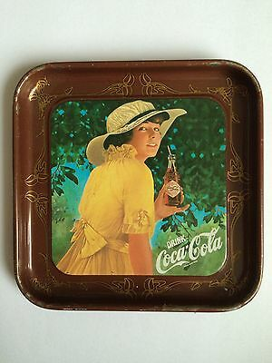COCA-COLA DRINK ADVERTISING OLD GLASS COASTER TIN PLATE TRAY PAD RETRO GIRLS C