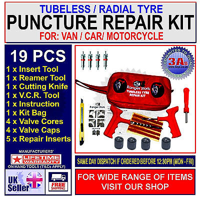 Car, Van, Motorcycle Tubeless Tyre Puncture Repair Kit - 19 Pieces