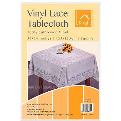 """White Table Cover Vinyl Plastic Embossed Tablecloth Square 54"""" Lace Reusable New"""