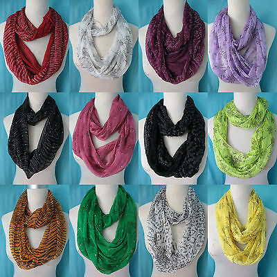 *US SELLER*lot of 10 infinity loop scarf Wholesale Bulk Fashion Scarves
