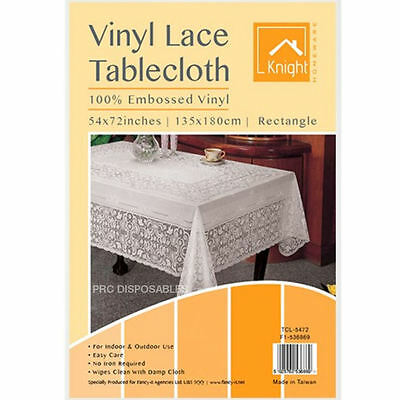 "White Table Cover Vinyl Plastic Embossed Tablecloth Rectangular 54 x 72"" Lace"